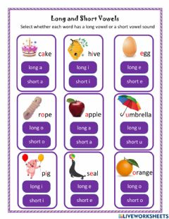 Interactive worksheet Short and Long Vowel Sounds