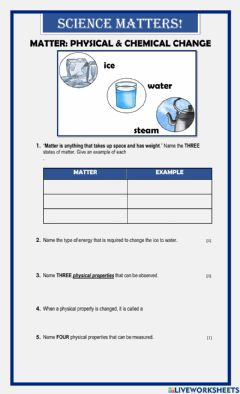 Interactive worksheet Physical and Chemical Changes
