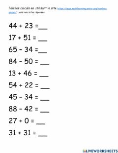 Interactive worksheet additions soustractions nombres 2 chiffres