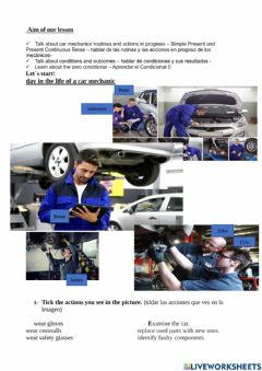 Interactive worksheet A day in the life of a mechanic