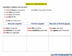 Interactive worksheet Adjectifs demonstratifs