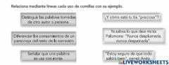 Interactive worksheet Uso de comillas