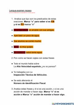 Interactive worksheet Lengua examen