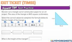 Interactive worksheet G6 Exit Area of Triangles