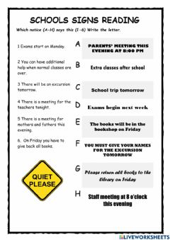 Interactive worksheet School Signs Reading for KET