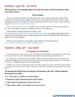 Interactive worksheet BES-Do Now Main Idea Review April 19-23