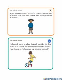 Ficha interactiva Word problems with time