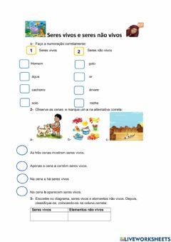 Interactive worksheet Os componentes do ambiente