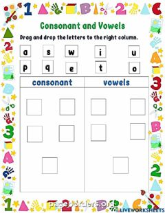 Interactive worksheet Consonant and vowel sort