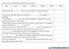 Interactive worksheet Those These and Commas G.L 1
