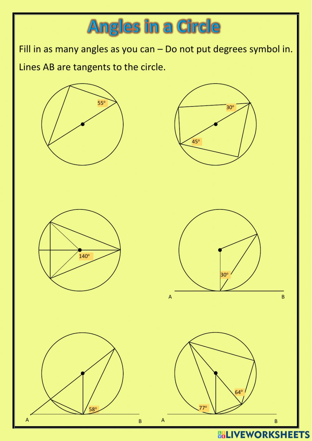 National 23 - Angles in a Circle worksheet For Angles In A Circle Worksheet