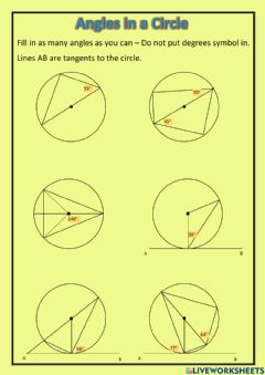 Interactive worksheet National 5 - Angles in a Circle