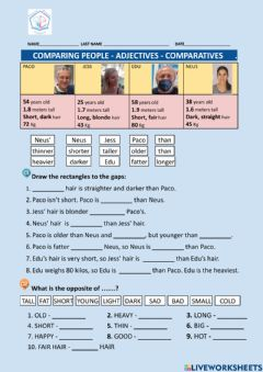 Interactive worksheet Comparing people - comparative adjectives  - opposites
