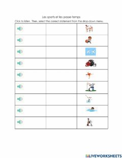 Interactive worksheet Ecoute: les sports