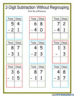 Ficha interactiva 2-Digit Subtraction without Regrouping DJ
