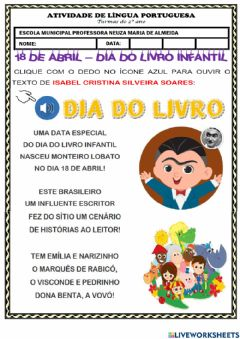Interactive worksheet Dia do livro infantil