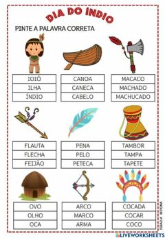 Interactive worksheet Dia do Índio