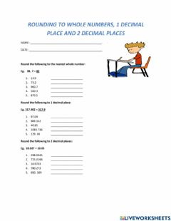 Interactive worksheet Rounding up to whole numbers, 1 decimal place, 2 decimal places