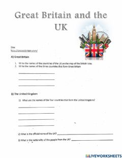 Interactive worksheet Great Britain and the UK