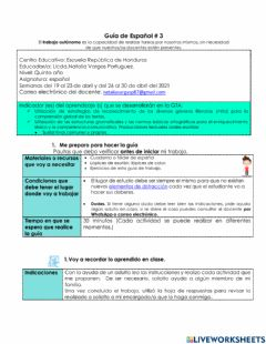 Interactive worksheet GTA de ESPAÑOL del 19 AL 30 ABRIL
