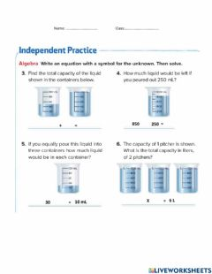 Interactive worksheet Solve capacity problems