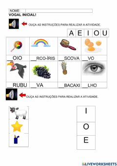 Interactive worksheet Vogal inicial