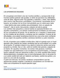 Interactive worksheet Cuento Las apariencias enganan
