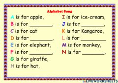 Interactive worksheet The ABC Song