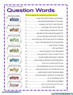 Interactive worksheet Wh Question words