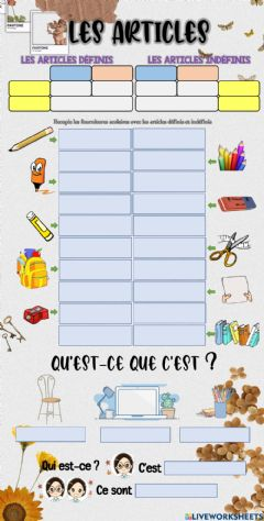 Interactive worksheet Des outils scolaires