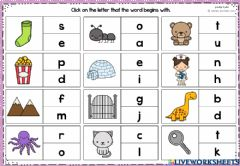 Interactive worksheet Click on the letter that the word begins with.