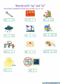 Ficha interactiva Words with ai and ay