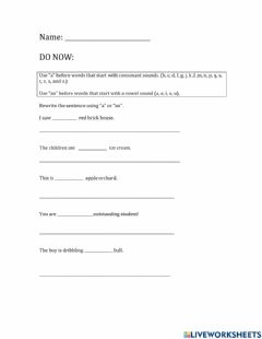 Interactive worksheet Uses of a and an