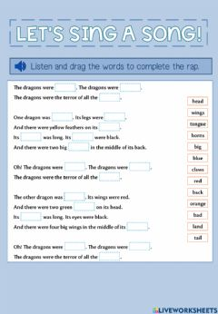 Interactive worksheet The dragon's song