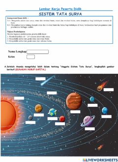 Interactive worksheet Tata Surya Part 1