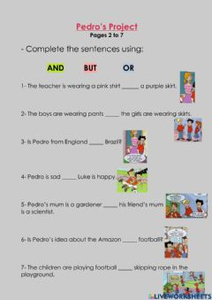 Interactive worksheet Pedro's Project - and, but, or