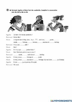 Interactive worksheet Exercices les partitifs