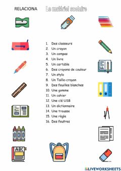 Interactive worksheet Fournitures scolaires