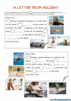 Interactive worksheet A letter from holiday