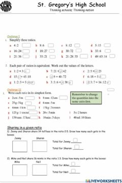 Interactive worksheet Ratio and proportion