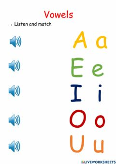 Interactive worksheet Vowels review