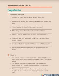 Interactive worksheet After reading 1