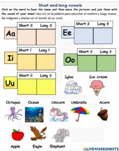 Interactive worksheet Short and long vowels