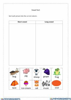 Interactive worksheet Words with short and long sound