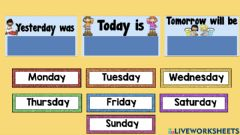 Interactive worksheet Yesterday, today and tomorrow