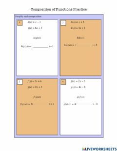 Interactive worksheet Composition of Functions Practice