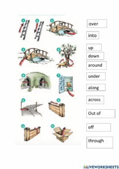 Interactive worksheet Prepositions of movements