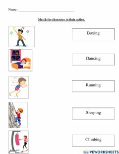 Interactive worksheet Character Actions