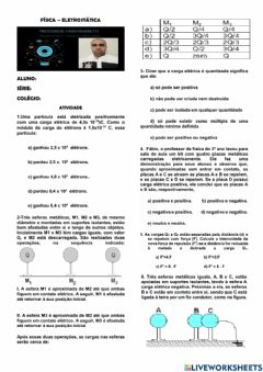 Interactive worksheet Eletrostática
