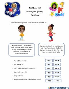 Interactive worksheet Reading Term Test 1T